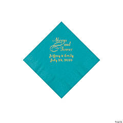 Turquoise Always & Forever Personalized Napkins with Gold Foil - Beverage