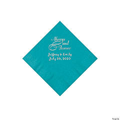 Turquoise Always & Forever Personalized Napkins with Silver Foil - Beverage