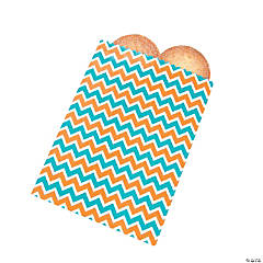 Turquoise & Orange Chevron Treat Bags