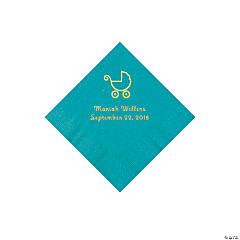 Turquoise Baby Carriage Personalized Napkins with Gold Foil - Beverage