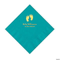 Turquoise Baby Feet Personalized Napkins with Gold Foil - Luncheon