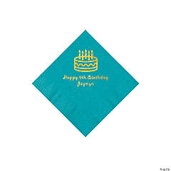 Turquoise Birthday Cake Personalized Napkins with Gold Foil - Beverage