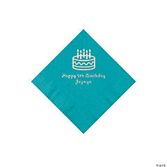 Turquoise Birthday Cake Personalized Napkins with Silver Foil - Beverage