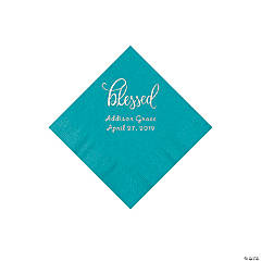 Turquoise Blessed Personalized Napkins with Silver Foil - Beverage