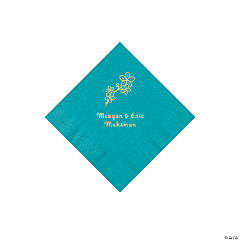 Turquoise Blossom Branch Personalized Napkins with Gold Foil - Beverage