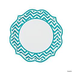 Turquoise Chevron Scalloped Dinner Plates