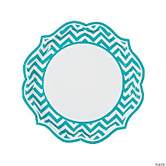 Turquoise Chevron Scalloped Paper Dinner Plates
