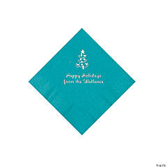 Turquoise Christmas Tree Personalized Napkins with Silver Foil – Beverage