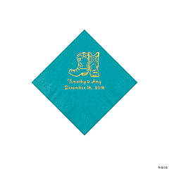 Turquoise Cowboy Boots Personalized Napkins with Gold Foil - Beverage