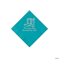 Turquoise Cowboy Boots Personalized Napkins with Silver Foil - Beverage