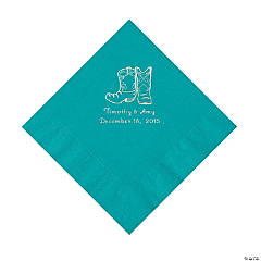 Turquoise Cowboy Boots Personalized Napkins with Silver Foil - Luncheon