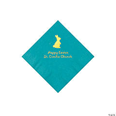 Turquoise Easter Bunny Personalized Napkins with Gold Foil - Beverage