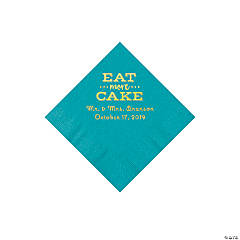 Turquoise Eat Cake Personalized Napkins with Gold Foil - Beverage