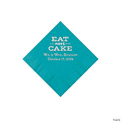 Turquoise Eat Cake Personalized Napkins with Silver Foil - Beverage