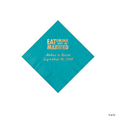 Turquoise Eat Drink & Be Married Personalized Napkins with Gold Foil - Beverage