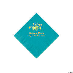 Turquoise Engaged Personalized Napkins with Gold Foil - Beverage
