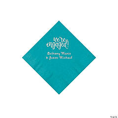 Turquoise Engaged Personalized Napkins with Silver Foil - Beverage