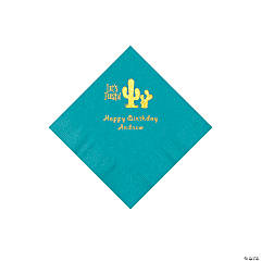 Turquoise Fiesta Personalized Napkins with Gold Foil - Beverage