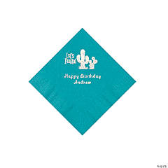 Turquoise Fiesta Personalized Napkins with Silver Foil - Beverage