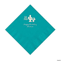 Turquoise Fiesta Personalized Napkins with Silver Foil - Luncheon