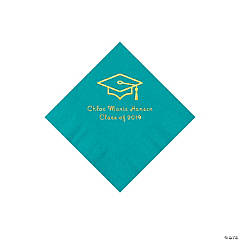 Turquoise Grad Mortarboard Personalized Napkins with Gold Foil – Beverage