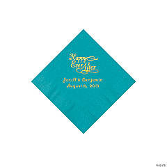 Turquoise Happy Ever After Personalized Napkins with Gold Foil - Beverage