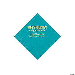 Turquoise Happy Holidays Personalized Napkins with Gold Foil – Beverage
