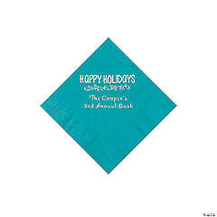 Turquoise Happy Holidays Personalized Napkins with Silver Foil – Beverage