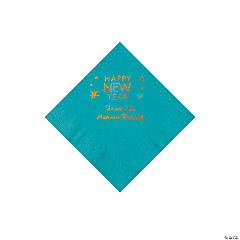 Turquoise Happy New Year Personalized Napkins with Gold Foil - Beverage