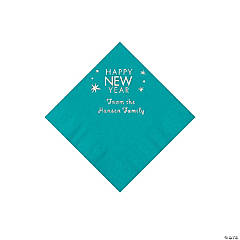 Turquoise Happy New Year Personalized Napkins with Silver Foil - Beverage