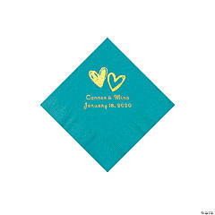 Turquoise Hearts Personalized Napkins with Gold Foil - Beverage
