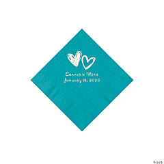 Turquoise Hearts Personalized Napkins with Silver Foil - Beverage