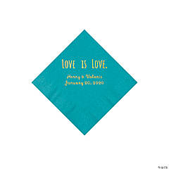 Turquoise Love is Love Personalized Napkins with Gold Foil - Beverage