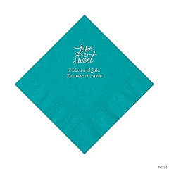 Turquoise Love Is Sweet Personalized Napkins with Silver Foil – Luncheon