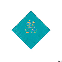 Turquoise Love Laughter & Happily Ever After Personalized Napkins with Gold Foil – Beverage