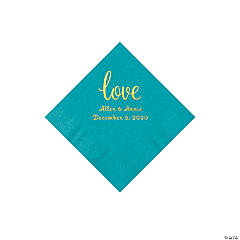 Turquoise Love Script Personalized Napkins with Gold Foil - Beverage