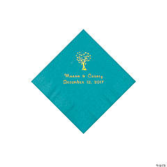 Turquoise Love Tree Personalized Napkins with Gold Foil – Beverage