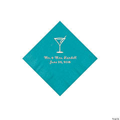 Turquoise Martini Glass Personalized Napkins with Silver Foil - Beverage