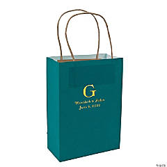 Turquoise Medium Personalized Monogram Welcome Gift Bags with Gold Foil