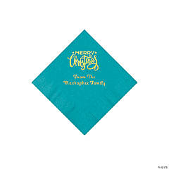 Turquoise Merry Christmas Personalized Napkins with Gold Foil - Beverage