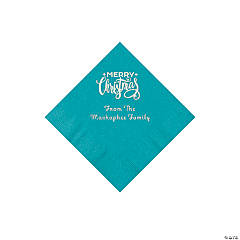 Turquoise Merry Christmas Personalized Napkins with Silver Foil - Beverage