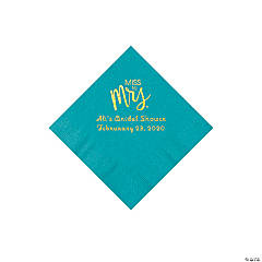 Turquoise Miss to Mrs. Personalized Napkins with Gold Foil - Beverage