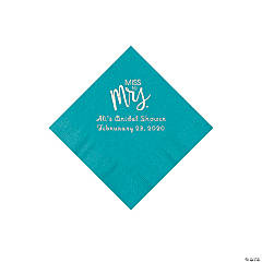 Turquoise Miss to Mrs. Personalized Napkins with Silver Foil - Beverage