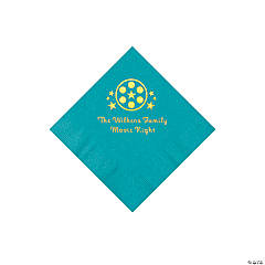 Turquoise Movie Night Personalized Napkins with Gold Foil – Beverage