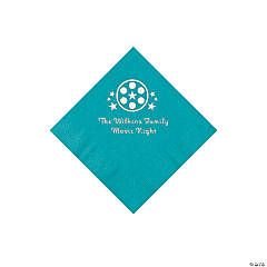 Turquoise Movie Night Personalized Napkins with Silver Foil – Beverage