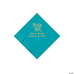 Turquoise Mr. & Mrs. Personalized Napkins with Gold Foil – Beverage