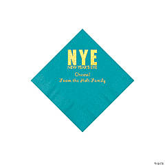 Turquoise New Year's Eve Personalized Napkins with Gold Foil - Beverage