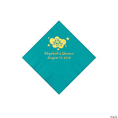 Turquoise Oh Baby Personalized Napkins with Gold Foil - Beverage