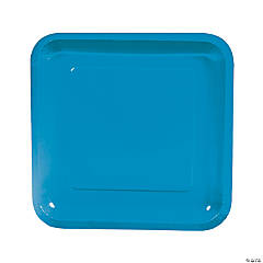 Turquoise Paper Square Dinner Plates