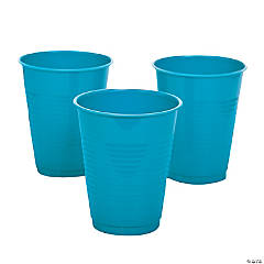 Turquoise Plastic Cups - 20 Ct.
